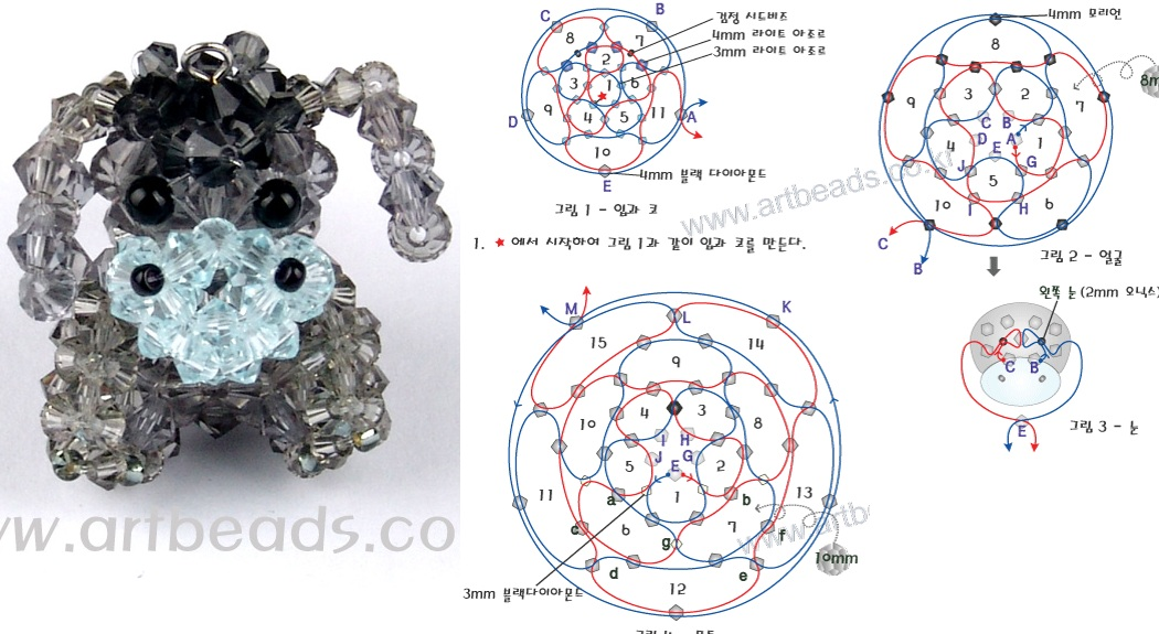 Схема его плетения. серые кристаллы - черные кристаллы - 2 черные бисерины - 2 черные бусинки - белые кристаллы...