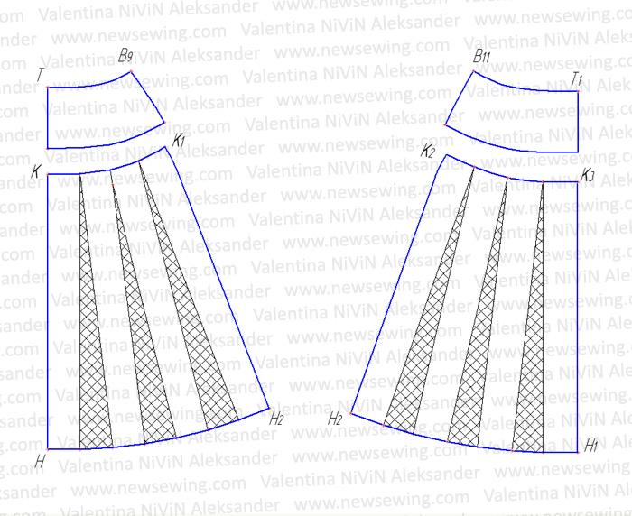 Выкройка юбки из шифона в складку